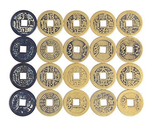 50 monete cinesi portafortuna Alphaacc Feng Shui in metallo anticato per lo scambio geocaching