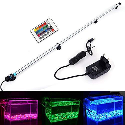 MLJ RGB Aquarium Beleuchtung, LED Aquarium Leuchte 112 cm Wasserdicht Aquarium Lampe Stecker EU Unterwasser LED-Lichtbalken für Fisch Tank mit Fernbedienung (RGB)