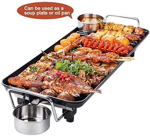 teppanyaki Grill, Elektrische Grill Thuis Grote Capaciteit Multifunctionele Elektrische Rookvrije Niet-roken Barbecue Steen Gegrilde Elektrische Bakplaat 1750W,48 * 28CM