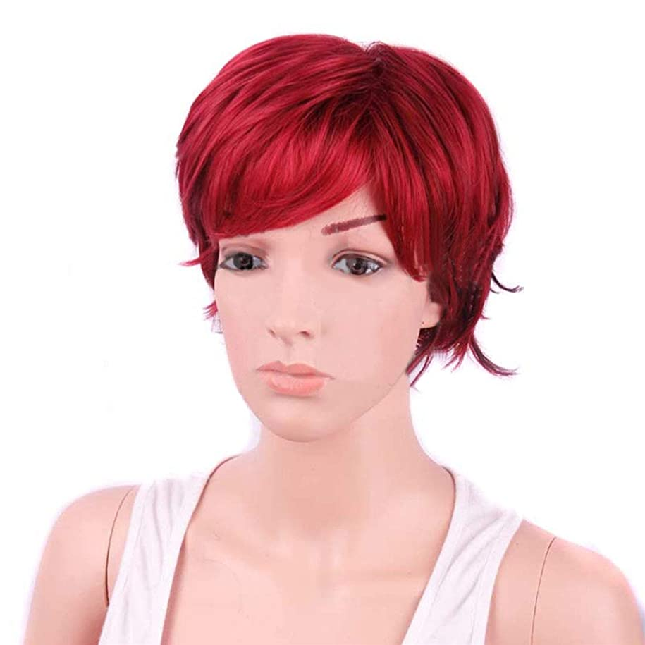 付録努力する消費Koloeplf 女性のためのボボのかつら耐熱ウィッグ12inch / 9inchの短いテクスチャ部分的な斜めのBangsウィッグと部分的なウィッグ (Color : Wine red)