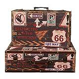 ZDAMN Maletas Vintage Box Set 2 Piezas Decorativas Caja Decorativa Retro clásica joyería baratija cofres de Almacenamiento para Dormitorio (Color : Coffee, Size
