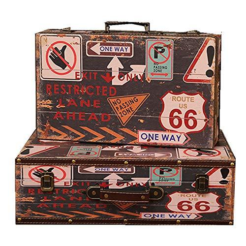 Lwieui Caja Decorativa Box Set 2 Piezas Decorativas Caja Decorativa Retro clásica joyería baratija cofres de Almacenamiento Caja de Almacenamiento Decorativo (Color : Coffee, Size