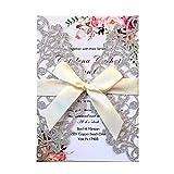 TAFLY Silber Hochzeit Einladung Karten Grußkarte Anpassen Visitenkarten Grußkarten Geburtstag Dekor Party liefert mit Umschlag 5 Stück