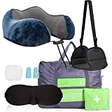 Motzii Complete Travel Accessories Set with Travel Pillow, Eye mask, Earplugs in Carry Bag. Airplane Foot Rest, Foldable Duffle Bag. Travel Gift for Ultimate Comfort