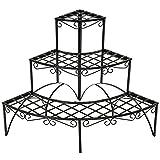 TecTake Etagère de jardin pour plantes escalier en fer 3 niveaux env. 60x60x60cm -...