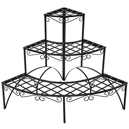 TecTake FIORIERA PORTAVASI Giardino A 3 Piani in Ferro Decorativa ca. 60x60x60cm - Portata Massima: ca. 30 kg - Modelli Differenti (Rotondo | No. 401712)