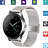 BANAUS B4S B4 Smart Watch Smartwtach with Bluetooth 4.0 Support Heart Rate Monitor for iPhone 6/6S/7/7S/8/8S/X/Xr/XS/Max/Samsung S6/S7/S8/S9/Note5/Note6/Note7/Note8(Silver) Silver