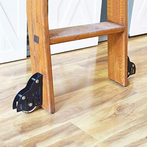 Herraje para Puerta Corredera Kit Ruedas de rodillo de piso de escalera de biblioteca de granero deslizante, accesorios de juego de rodillo de piso de actualización de muebles de alta resistencia (2 p