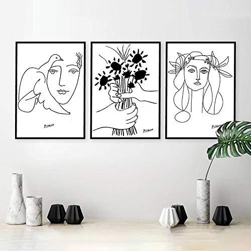 cgsmvp Picasso Strichzeichnungen Zeichnung Leinwand Kunstdrucke Skizzen Frau Blumenstrauß des Friedens Malerei Poster Minimalistische Wandkunst Home Wanddekoration / 40x50cmx3Pcs-kein Rahmen