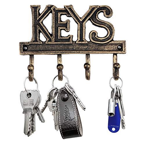 "Key Holder - Keys Hanger Home Decor Hook to Hang Keys - Wall Mounted Cast Iron Farmhouse Decorative Vintage Rustic Keyholder with 4 Hooks - 7""x5"" Keyhanger Rack Organizer - with Screws (Antique Gold)"