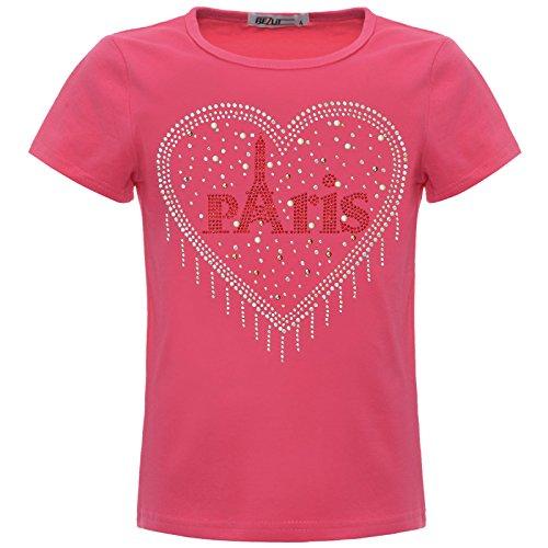 BEZLIT Mädchen T-Shirt Glitzer Herz Paris Kunst-Perlen Oberteil 22550 Pink 140