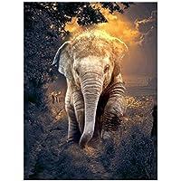 JXRDG Diamond Painting Elephant Full Square Diamond Embroidery Animal Picture Mosaic Rhinestone Home Decoration 40x30cm no frame