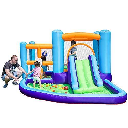 DREAMyun Castillos hinchables, Castillo Inflable trampolín, área de Juegos para niños, con tobogán Ocean Ball Pool y área de Escalada, 400 * 315 * 185cm