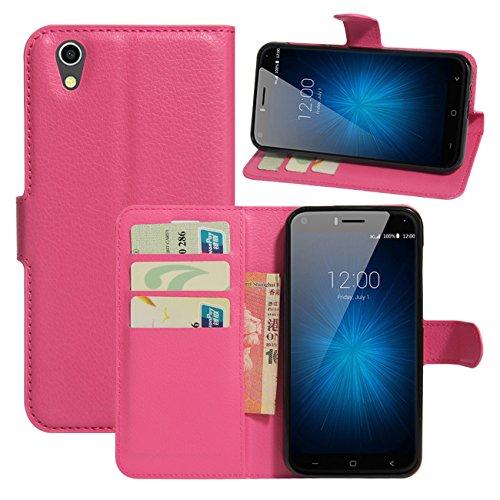HualuBro UMIDIGI London Hülle, [All Aro& Schutz] Premium PU Leder Leather Wallet Handy Tasche Schutzhülle Hülle Flip Cover mit Karten Slot für UMIDIGI London 5.0 Inch 3G Smartphone (Rose)