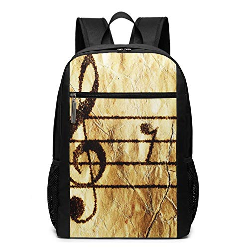 Schulrucksack Klavier Notenblatt Gitarre, Schultaschen Teenager Rucksack Schultasche Schulrucksäcke Backpack für Damen Herren Junge Mädchen 15,6 Zoll Notebook
