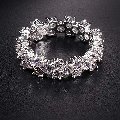 MYLDML Anillo Luxury 4CT Ladies 925 Sterling Silver Eternity Band Engagement Wedding Ring Diamond Simulated Platinum Size 5,6,7,8,9,10,White,7
