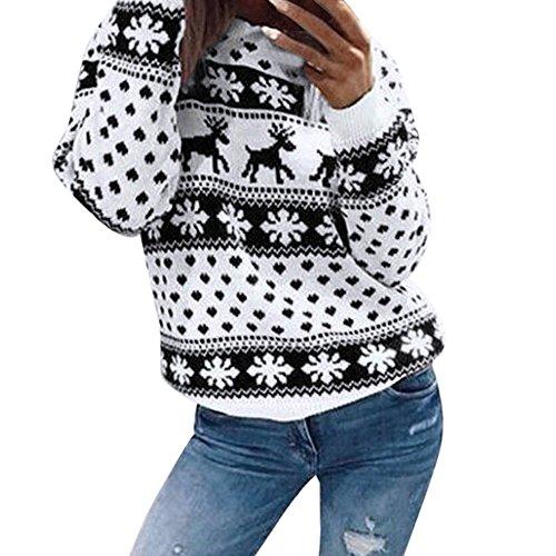 Auifor vrouwen Kerstkerstbloemenprint lange mouwen blouse-kant sweatshirt