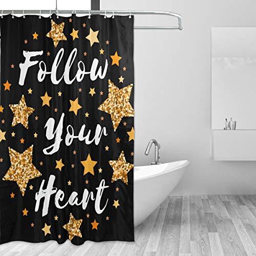 Rideau de douche inspirant, motif étoile et cœur, pour salle de bain, abat-jour avec crochets en tissu non toxique et inodore, grande maison, 152 x 182 cm, 60 x 72 cm