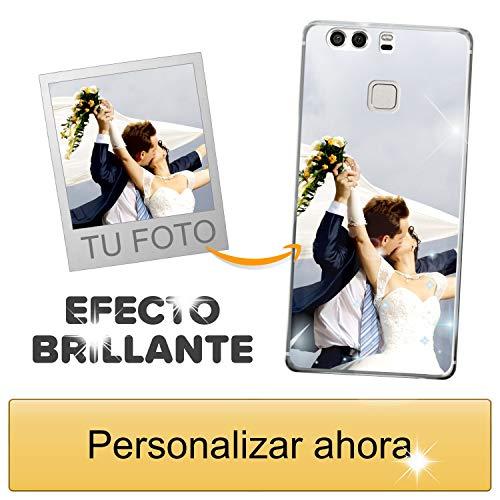 Funda móvil Personalizada con Efecto Brillante para Huawei P9 con Tu Foto, Imagen o Frase - Funda Blanda en TPU Gel Transparente - Impresión de máxima Calidad