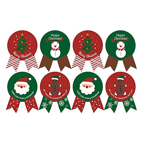Espeedy Navidad Pegatinas,80pcs Navidad Etiqueta de Papel Adhesivo Regalo Paquete Sellado Pegatinas para Galletas Dulces nueces Paquete x ' mas árbol de Nieve
