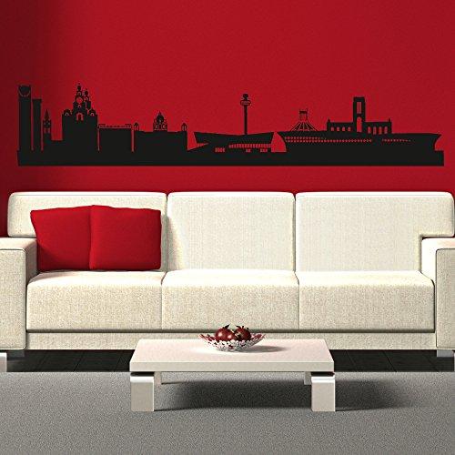 LaoGraphics Liverpool Skyline Merseyside - Pegatinas de pared, vinilo para decoración interior de arte, diseño contemporáneo extraíble, idea de regalo zzz-ll198