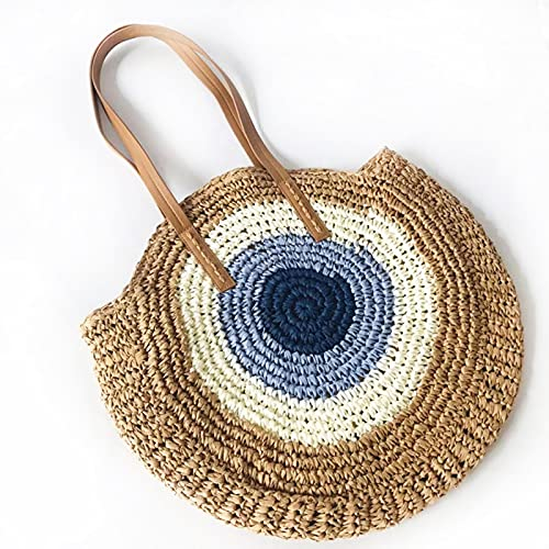 Bolso tejido de paja para mujer, redondo, portátil, reutilizable, para almacenamiento en el hogar