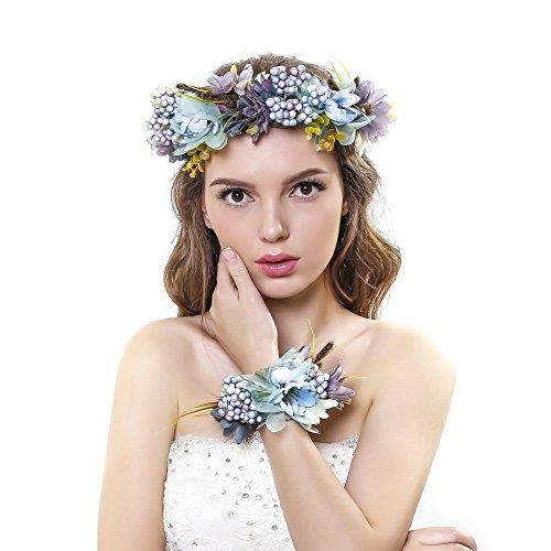 Ever Fairy fascia per capelli con corona di fiori e fascia per il polso con ghirlanda floreale, set per matrimonio per donne e bambine Blue Taglia unica