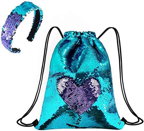 PTN Niña Mochilas de Lentejuelas, Mochila de Mujer con Lentejuelas y Cordón, Sirena Cordón Bolsa, Magic Dance Bags con Diadema, Mochila de Lentejuelas para Mujeres, Niñas y Adolescentes (Azul)