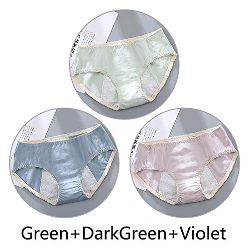 KODH Underwear for Womens Low-Rise for Cotton Panty Breathable for Soft Sexy Bikini Close-Fitting Comfortable Intimates Hipster 3packs (Color : D-Style, Size : XL)