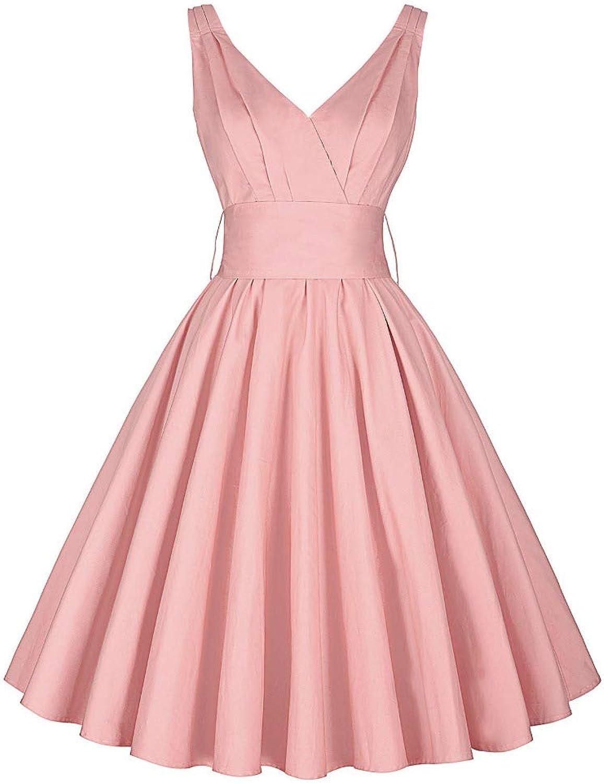 Aignse Dress Womens Summer Dresses Summer Sleeveless VNeck Pleaded Elegant Office Party Picnic Tea Dress