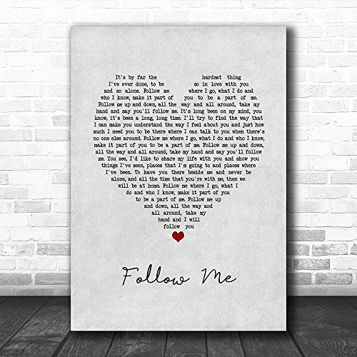 WisdomCourage #John #Denver #Follow Me Song Lyric Grey Heart Music Print Funny Lovers Poster Wall Art Gifts