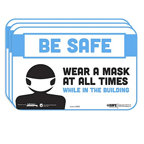 BeSafe Messaging'Please Wear a Mask While in The Building', 3-Pack 9'x6', Repositionable Education Wall & Door Safety Signs, Perfect for Most Surfaces