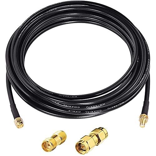 Greluma 1 Pieza 5m SMA macho a SMA hembra Mamparo RG174 Cable coxial + 2 piezas RF Coax SMA Adaptador Kit para equipo SDR Antena HAM Radio, Antena 3G 4G LTE, ADS-B, GPS