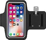 Brazalete Deportivo movil de Neopreno Antideslizante Universal para telefonos moviles de hasta 6.5' antisudor con Bolsillo para Llaves Cable Tarjetas (Negro)