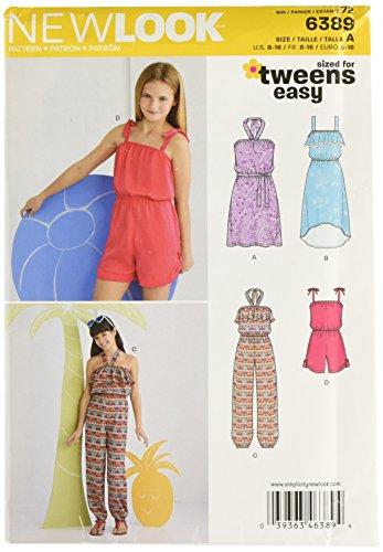 Simplicity Vintage New Look NL6389 Schnittmuster für Kleid/Shorty/Kombi-Hose, 22°x°15°cm, Weiß