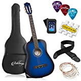 Ashthorpe 38-inch Beginner Acoustic Guitar Package (Blue), Kids Basic Starter Kit w/Gig Bag, Strings, Strap, Tuner, Pitch Pipe, Picks