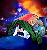 Kids Dream Bed Tent Twin Size - Deluxe Space Adventure & Dinosaur Island & Unicorn & Winter Wonderland Play Tents Boys Girls Pop up Tents Children Game Tent Magical Playhouse Christmas Birthday Gifts