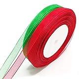 Envoltura de regalos, cinta roja y verde de 47 m, uso para hacer pajaritas, envoltura de regalos, fabricación de disfraces, decoración de pasteles