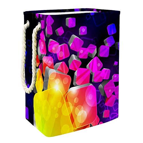 Lila Würfel Übergroßer multifunktionaler Faltbarer Wasserdichter Haushaltswäschekorb mit Aufbewahrungsbox 49x30x40.5cm