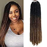 18 Inch Goddess Faux Locs Straight Gypsy Locs Crochet Hair 3 Tone Ombre Crochet Braids Dreadlocks Pre-Looped Synthetic Hair Extensions 18 Strands/Pack (Pack of 6, T1B/30/27)