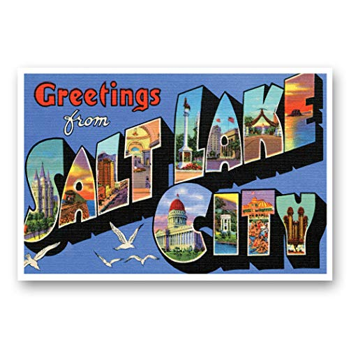 GREETINGS FROM SALT LAKE CITY, UT vintage reprint postcard set of 20 identical postcards. Large Letter Salt Lake City, Utah city name post card pack (ca. 1930's-1940's). Made in USA.