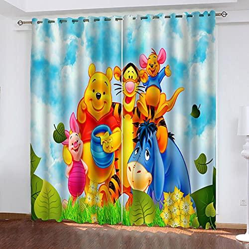 Bfrdollf Juego de 2 cortinas opacas Winnie The Pooh de poliéster perforado para decoración de habitación infantil, reducción de ruido, cortinas opacas (3,183 x 160 x 160 cm (ancho x alto) cm)