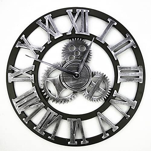 Reloj de Pared Vintage Silencioso, Reloj de Pared Circular con Números Romanos de Metal Estilo 45 cm, Reloj de Pared Moderno Decorativo para Salón, Cocina, Oficina…
