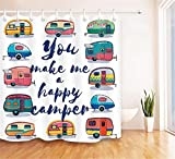 Haus Dekoration. Karikatur. Süße Bunte Autos. Duschvorhang: 180X180 cm. 12 C-Förmige Haken. 3D Hd Druck. Wasserdicht. Nicht Verblassen.