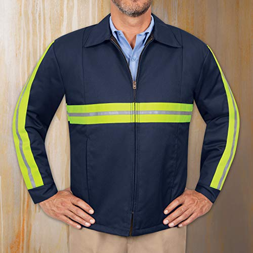 Red Kap Men's Enhanced Visibility Perma-Lined Panel Jacket, Navy with Yellow/Green Visibility Trim, Small