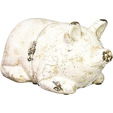 Creative Co-op Terra Cotta Pig Bookends, Antique White