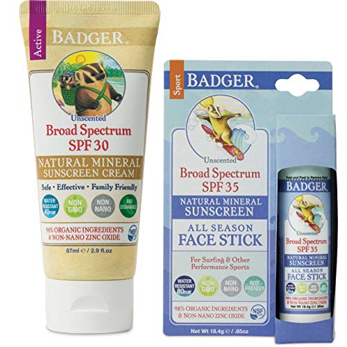 Badger SPF30 Sunscreen (2.9 oz) and Badger SPF 35 Sport Sunscreen Face Stick (.65 oz)