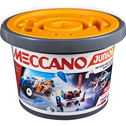 Meccano 6055102 Junior, 150-Piece Bucket STEAM Model Building Kit for Open-Ended Play, for Kids Aged 5 and Up, Multicoloured