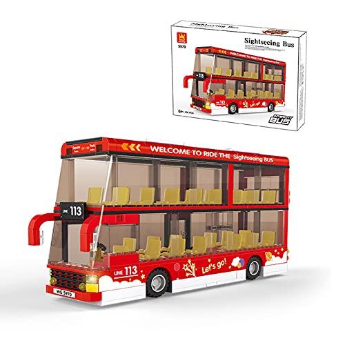 Kit De Construcción De La Serie De Autobuses De La Ciudad; Bloques De Construcción De Juguetes De Autobuses Simulados Para 6 Años De Edad, Regalos De Cumpleaños Para Niños, Nuevo 2021,Red big bus