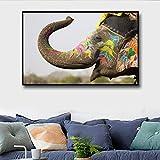 GJQFJBS Elefante Abstracto Mural Pintura de la Pared Arte Impresión de la Lona Imagen Sala de Estar Decoración del hogar A4 60x80cm